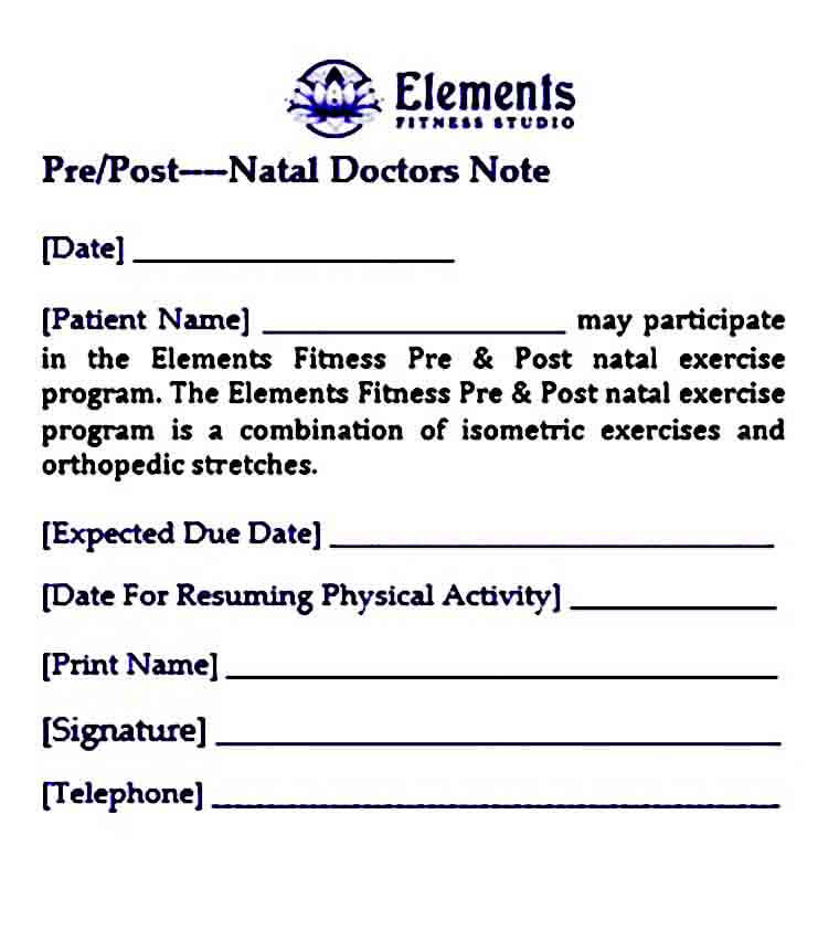 elements pre post natal doctors note