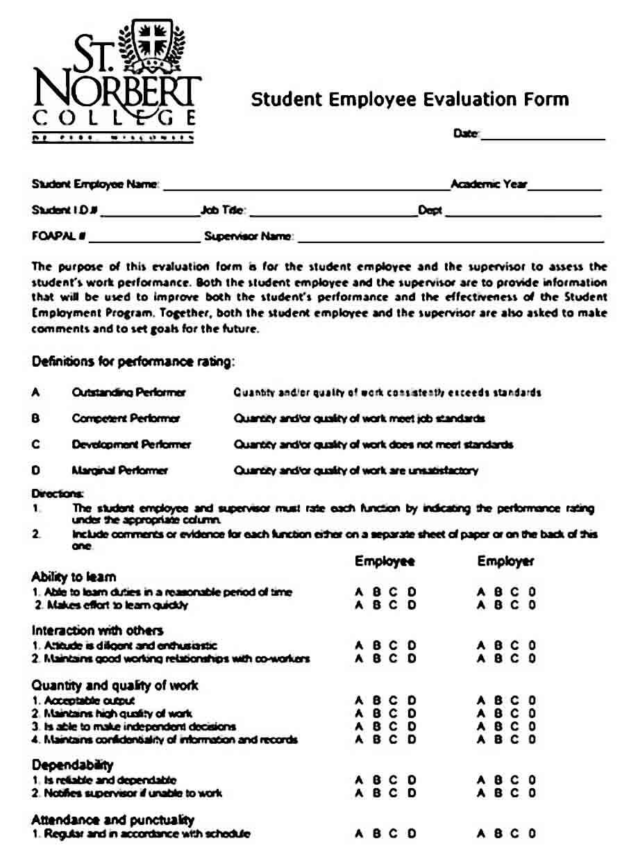 employee evaluation form example