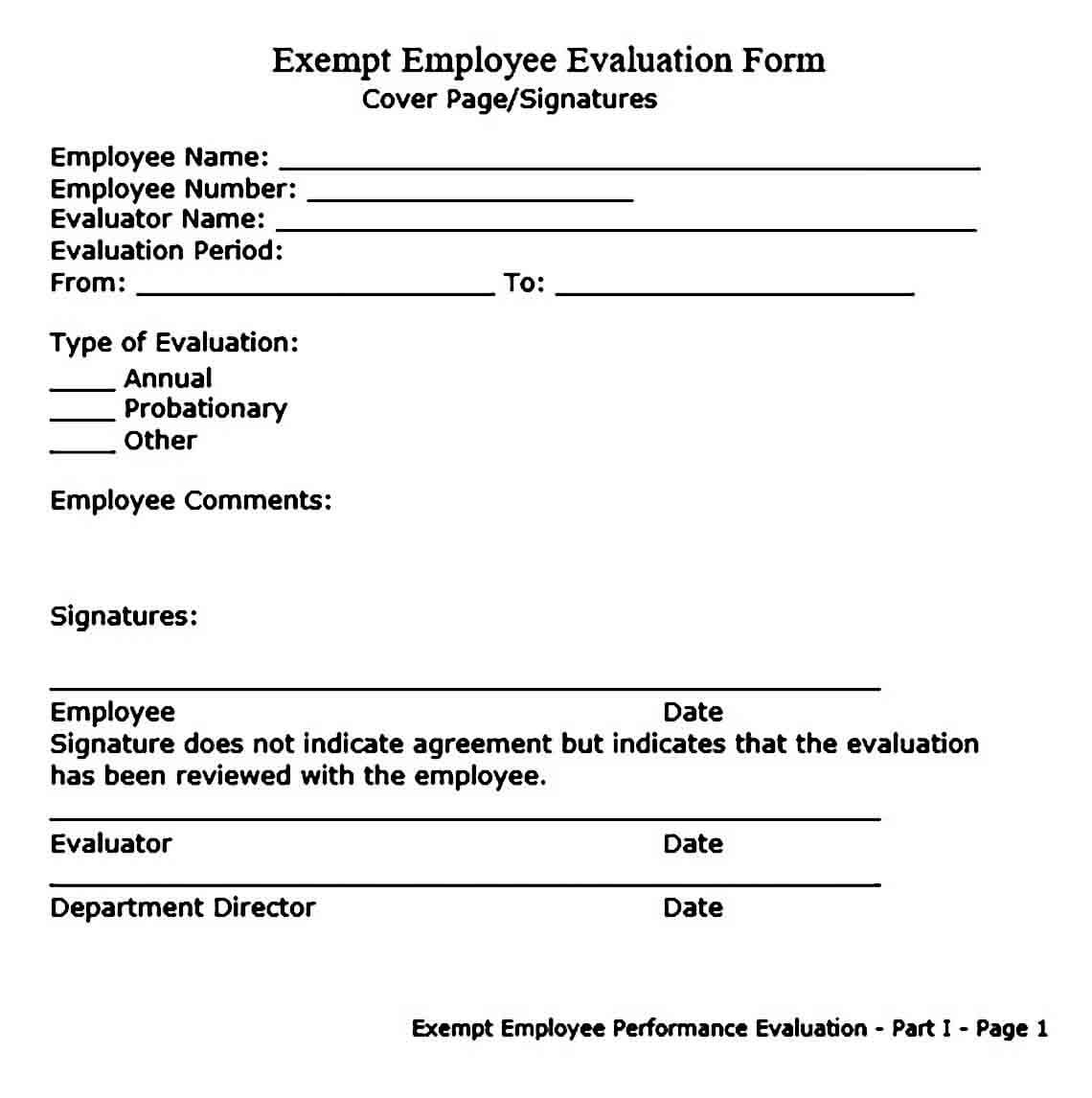 employee evaluation form templates