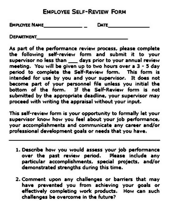employee self evaluation example