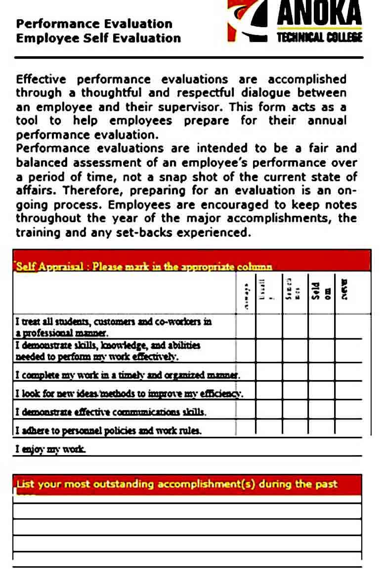 employee self evaluation goals