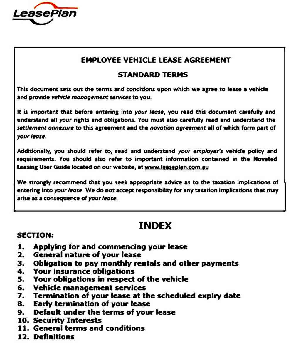employee vehicle lease standard terms v