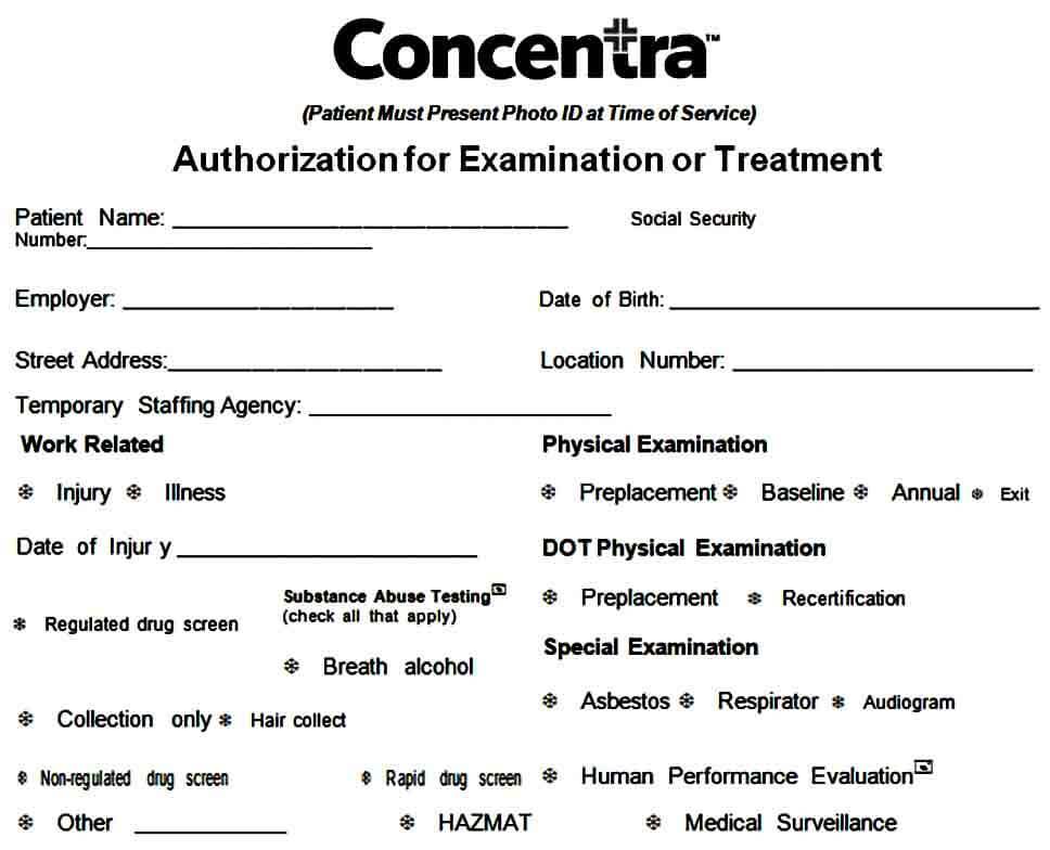 examination medical authorization form