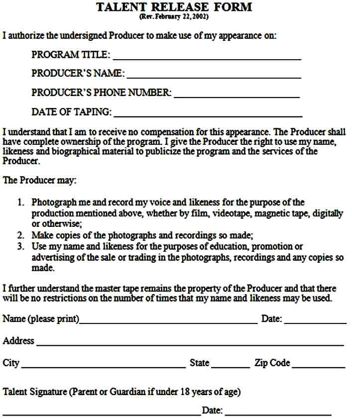film talent release form