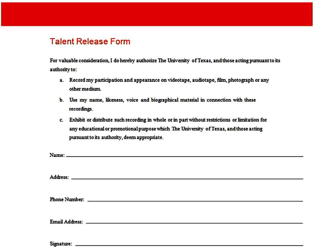 formal talent release form