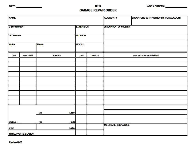 garage repair order form