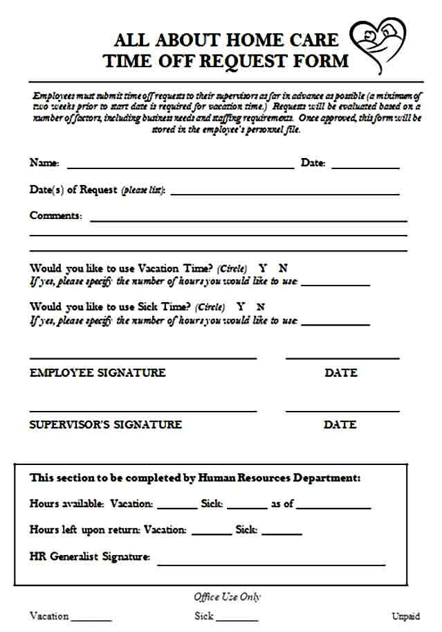 home care time off request form