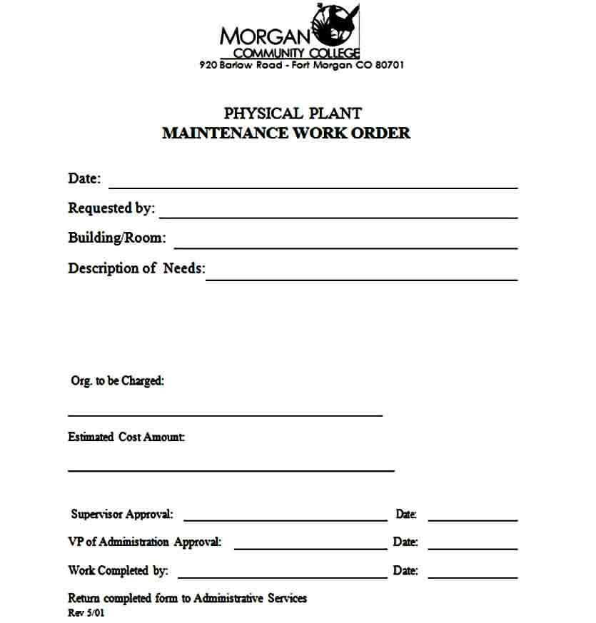 hotel maintenance work order form
