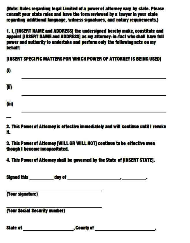 limited power of attorney templates form