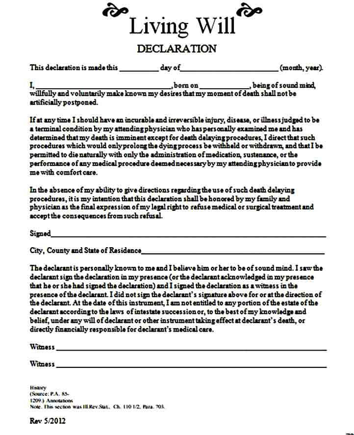 living will declaration form templates
