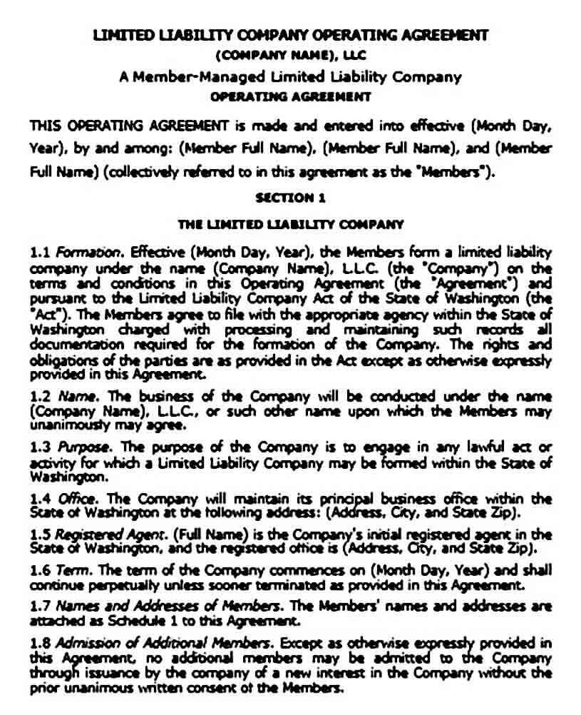 llc operating agreement templates
