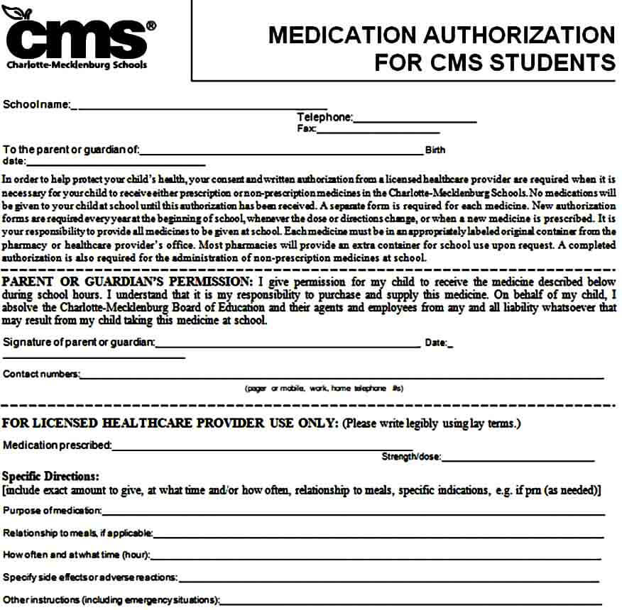 medical authorization form for cms students