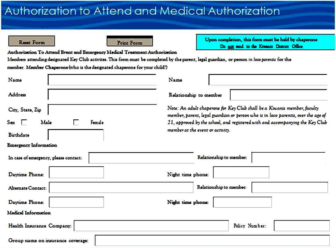 medical authorization form sample