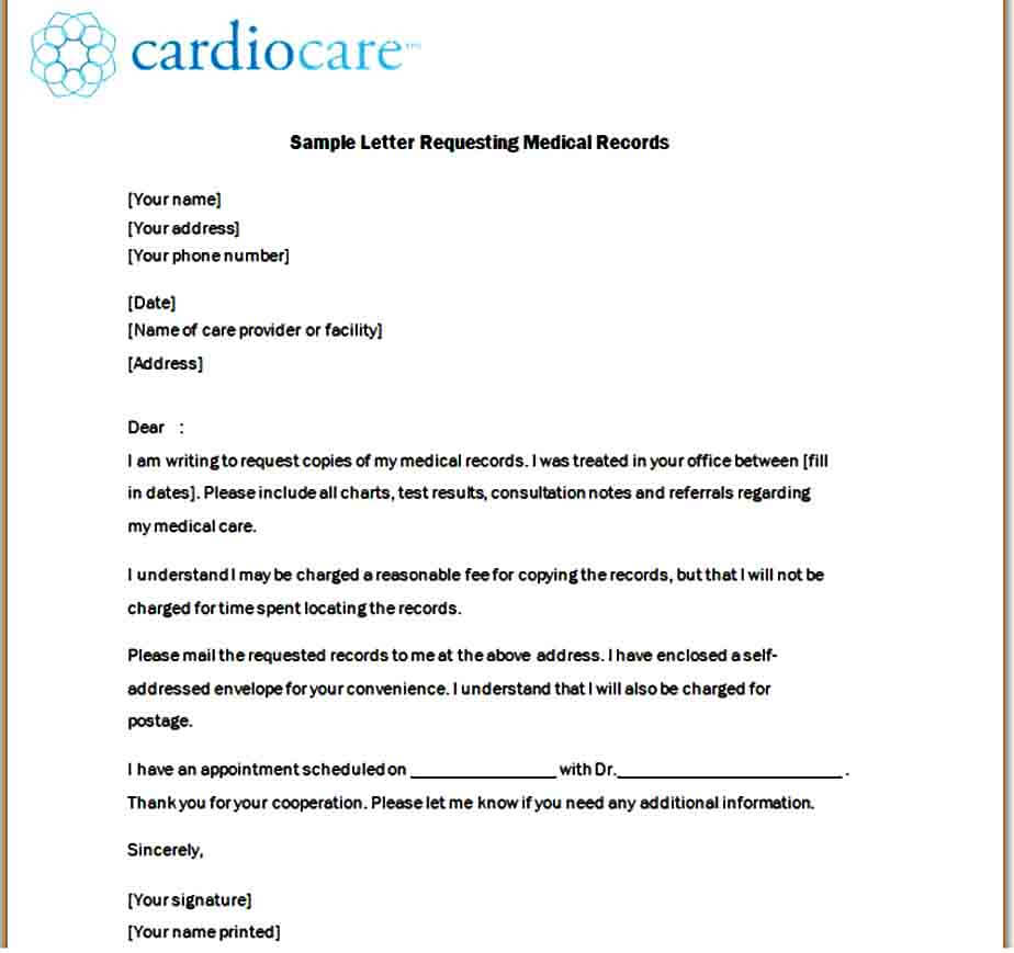 medical record request letter