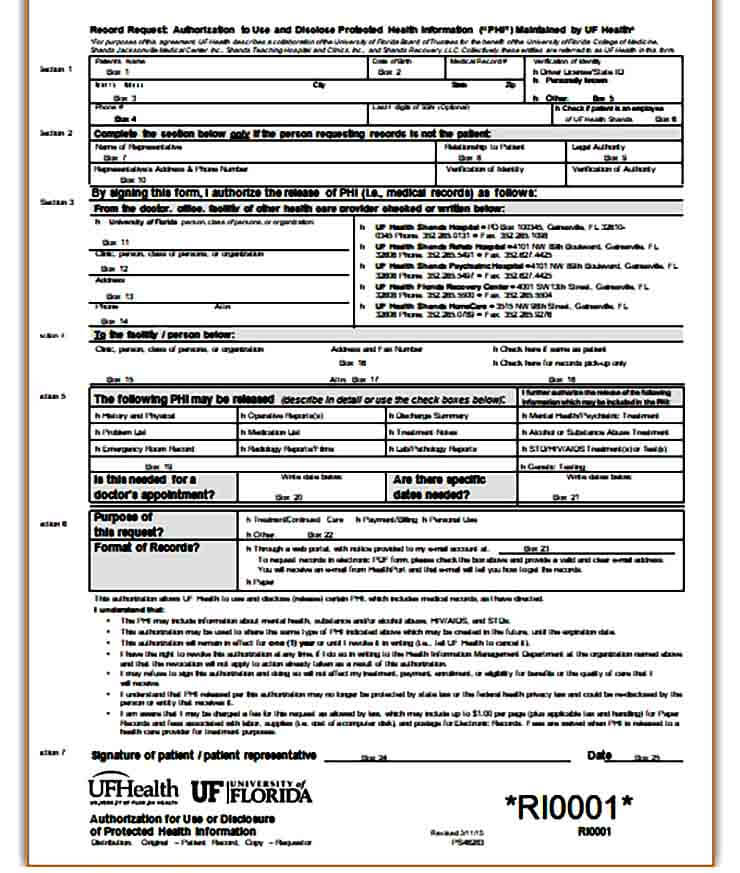 medical records request form