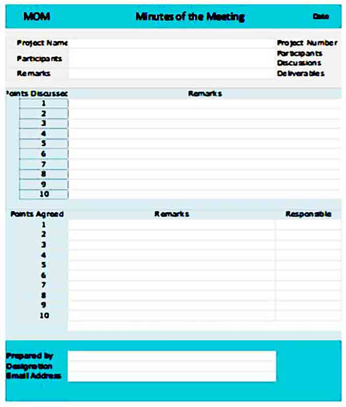 meeting minutes templates excel