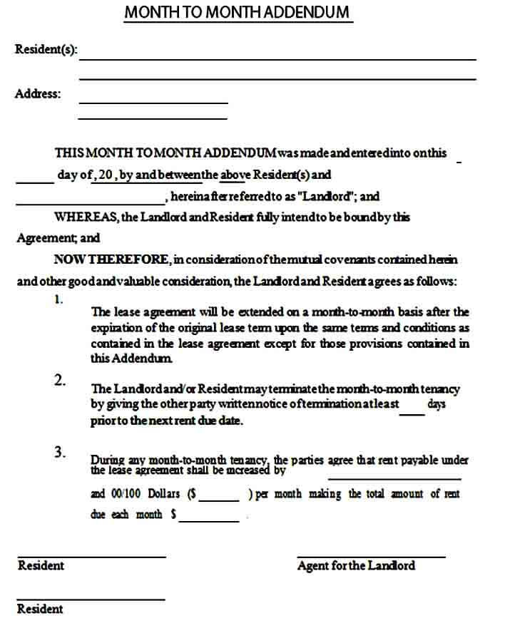 month to month rental agreement example