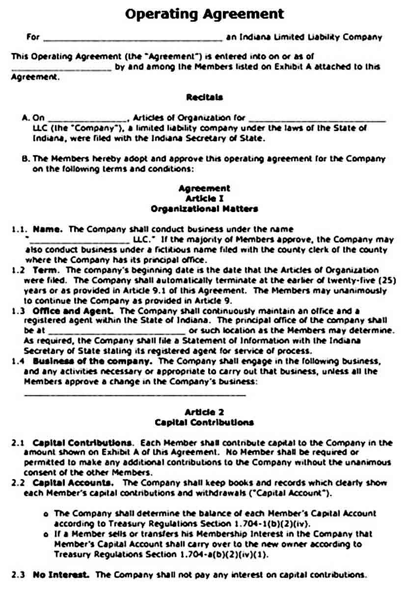 operating agreement templates word