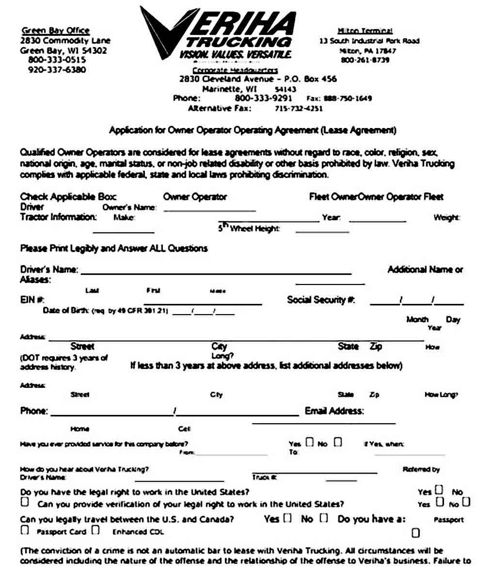 owner operator lease application