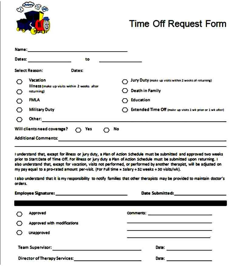 paid time off request form to for