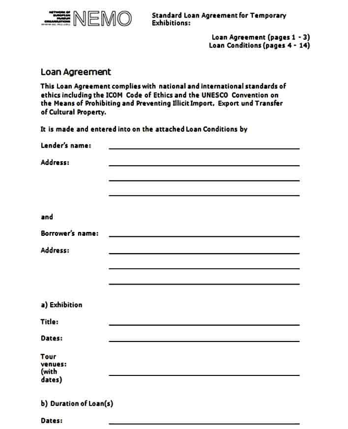 Template Personal Loan Agreement Form