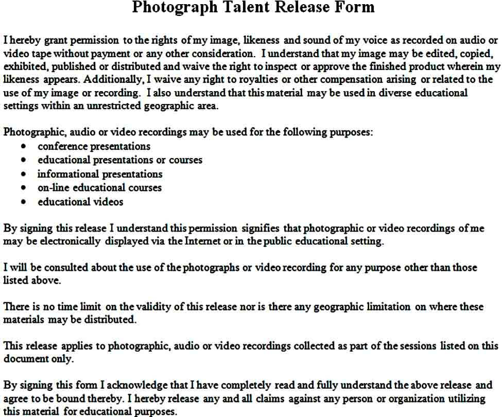 photograph talent release form