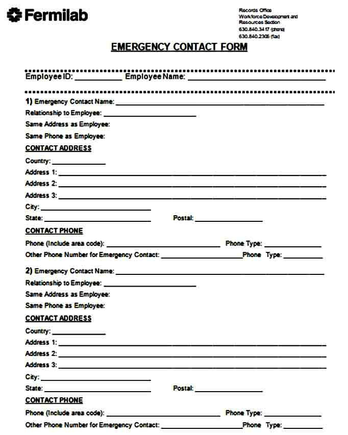 primary emergency contact form