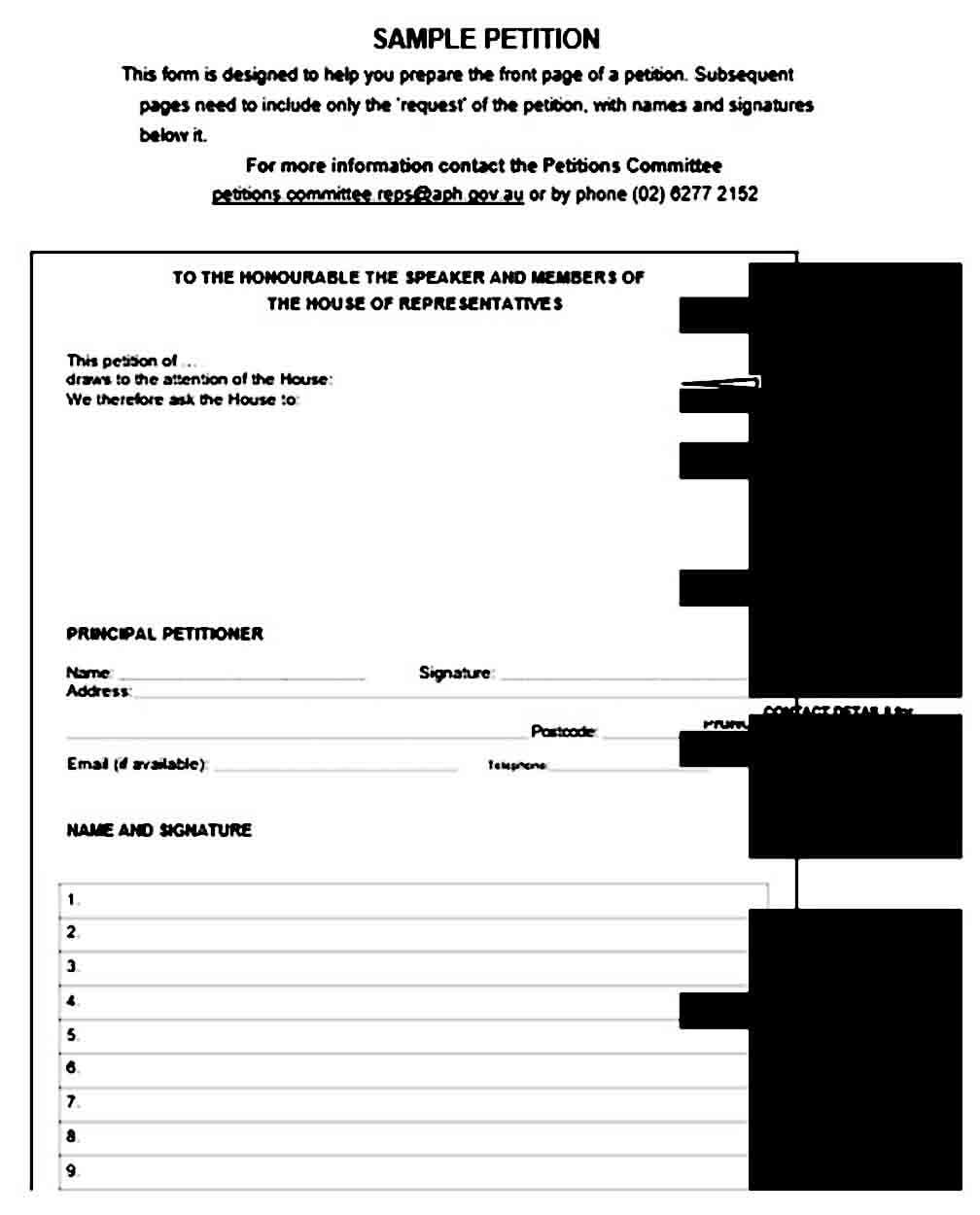 printable blank petition templates