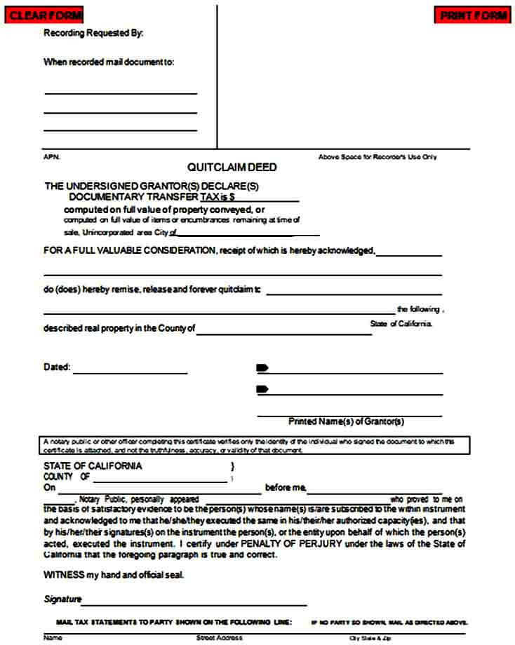 printable quit claim deed form