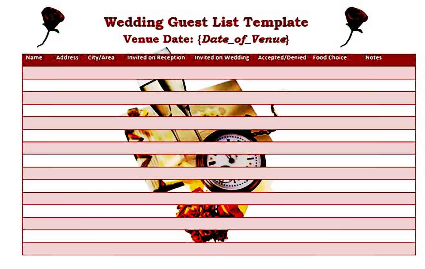 printable wedding guest list templates