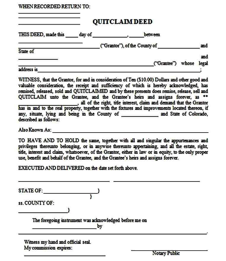 quit claim deed templates