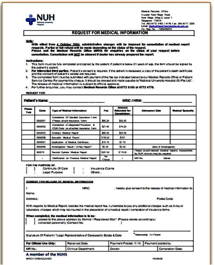 request for medical report form