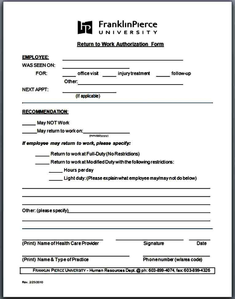 return to work authorization form