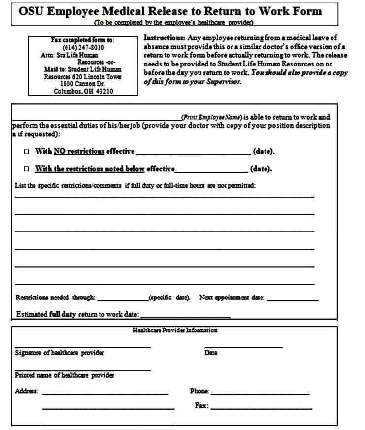 return to work medical evaluation form