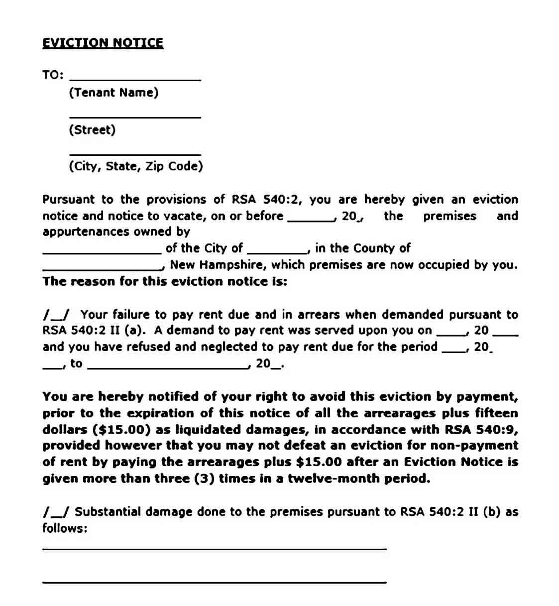sample eviction notice templates