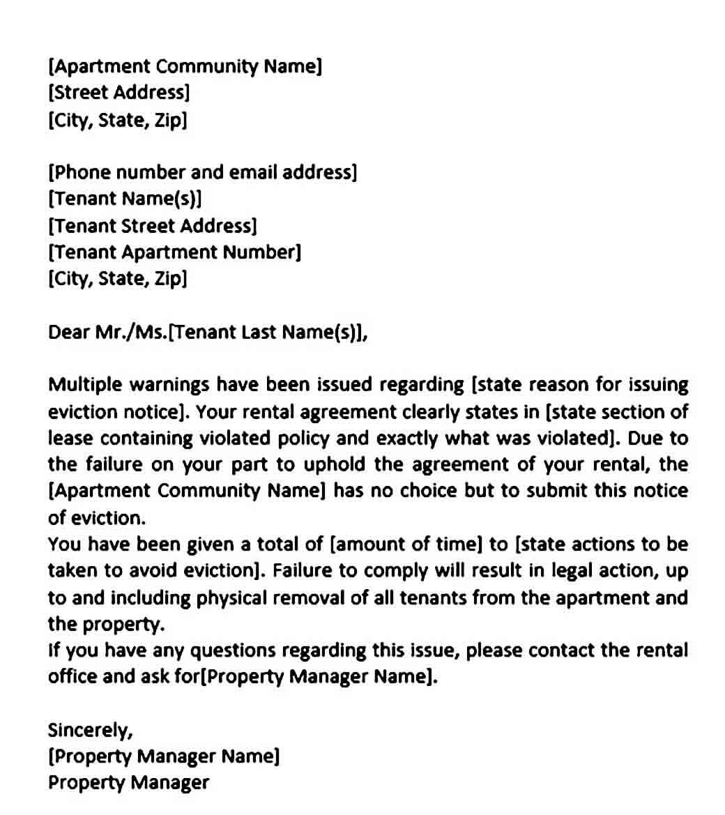 sample eviction notice word