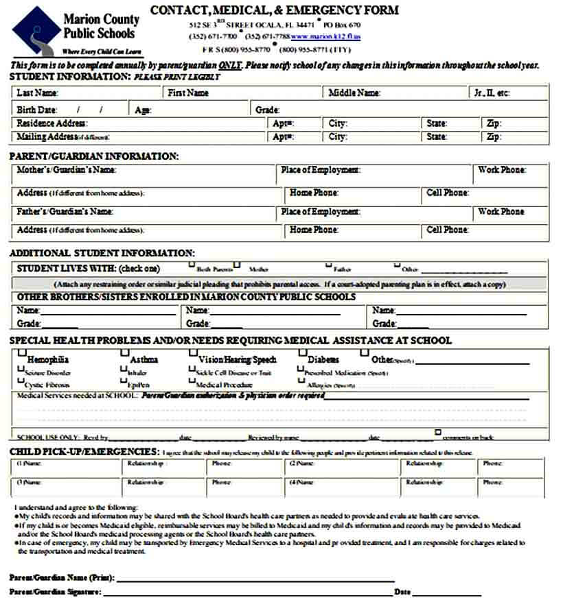 school emergency contact form