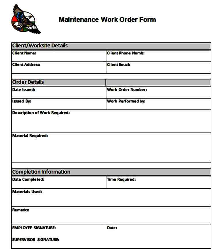 simple maintenance work order form