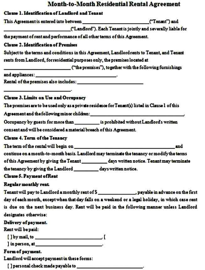 simple month to month rental agreement form