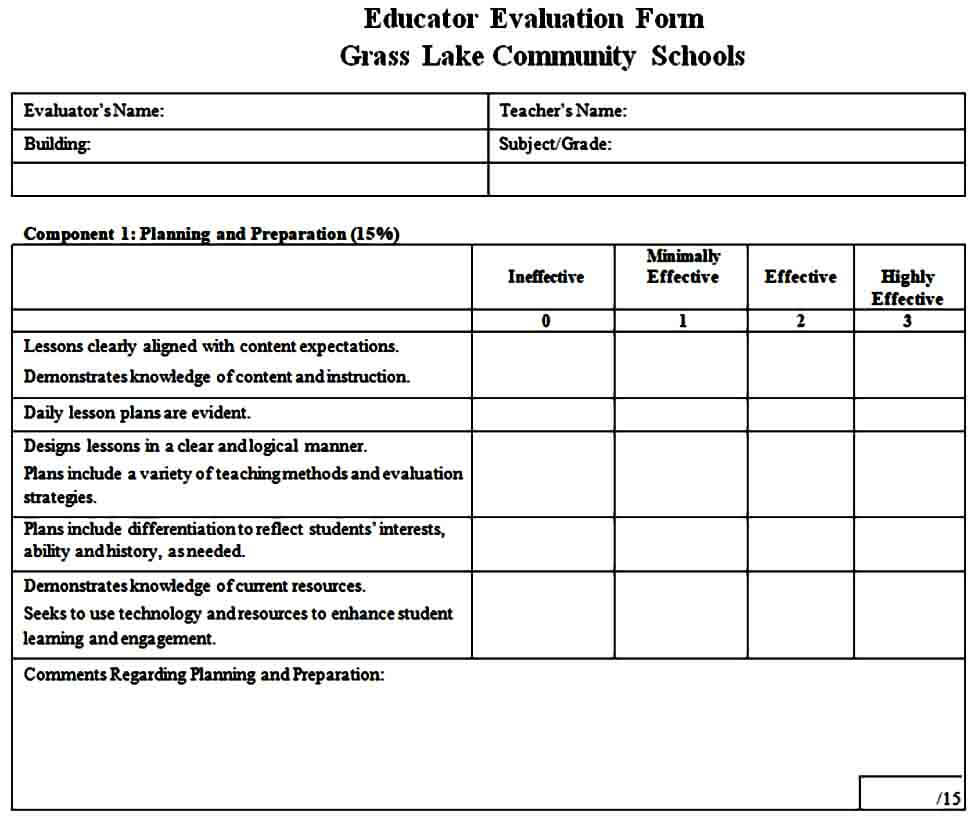 simple teacher evaluation form