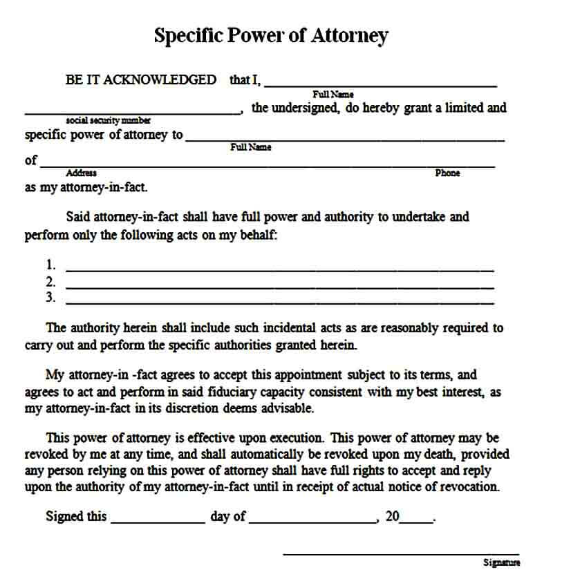 specific limited power of attorney form