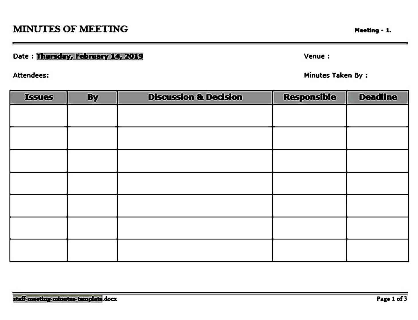 staff meeting minutes templates