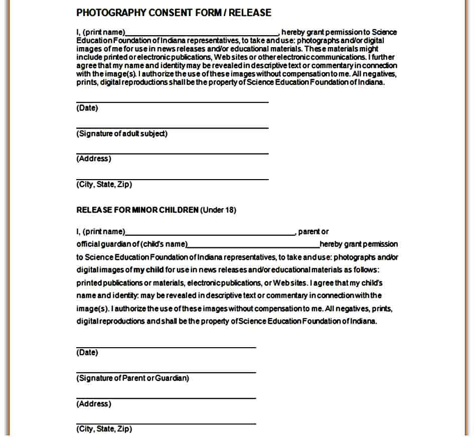 standard print release form