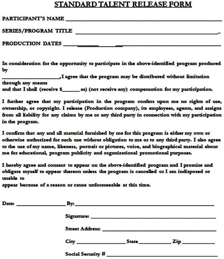 standard talent release form