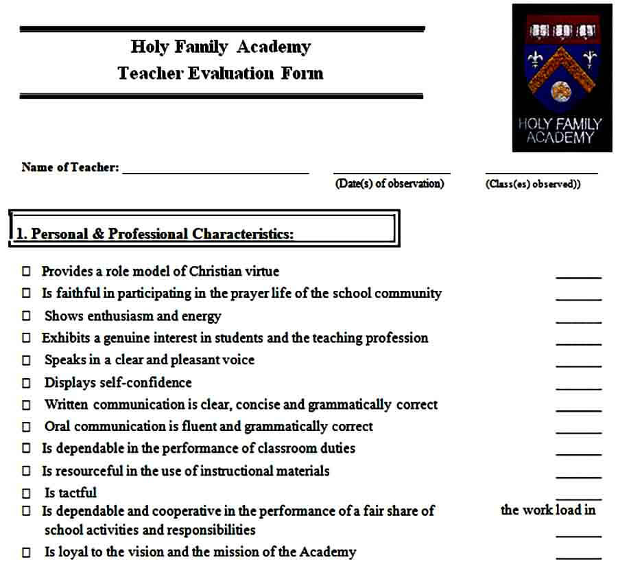 teacher evaluation form sample