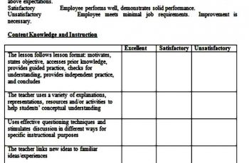teacher evaluation form word