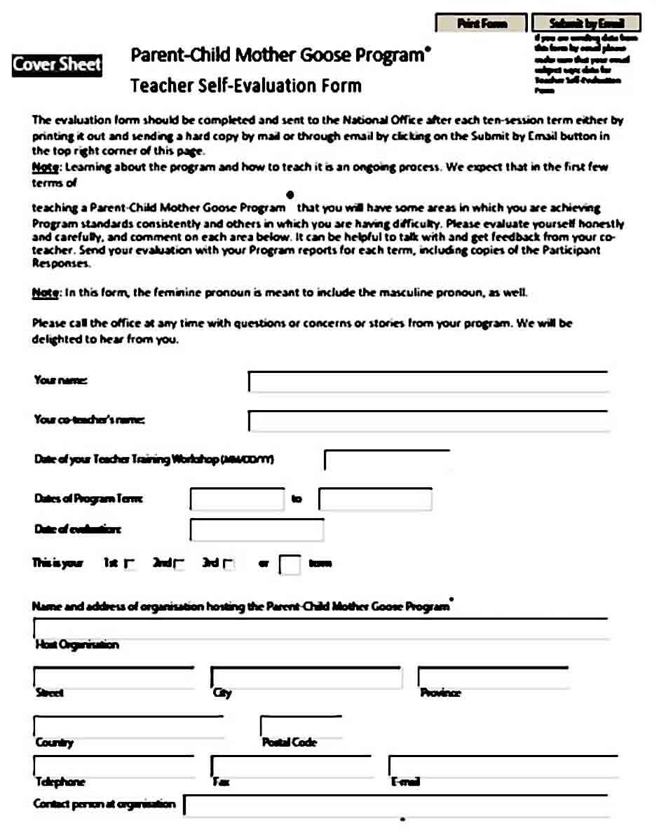 teacher self evaluation form