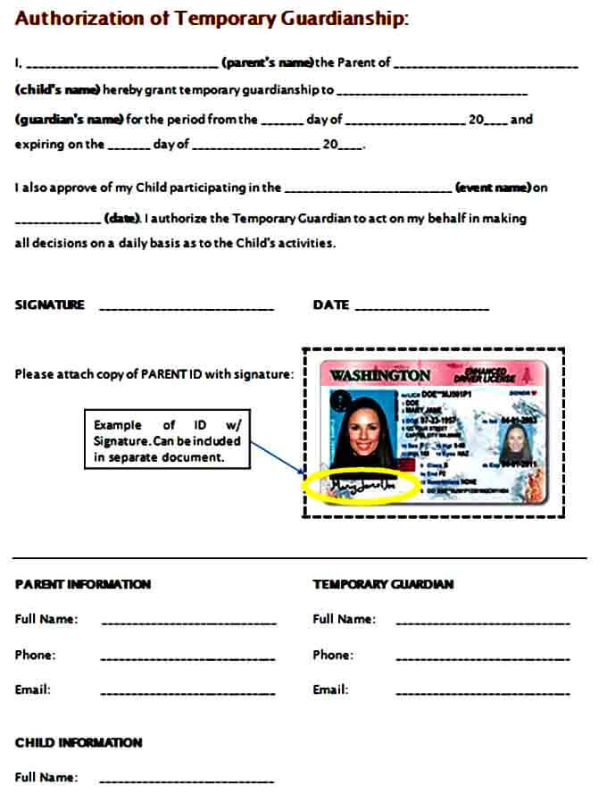 temporary guardianship authorization form