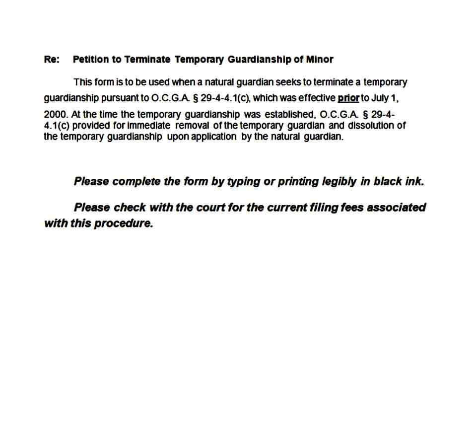 temporary guardianship form sample