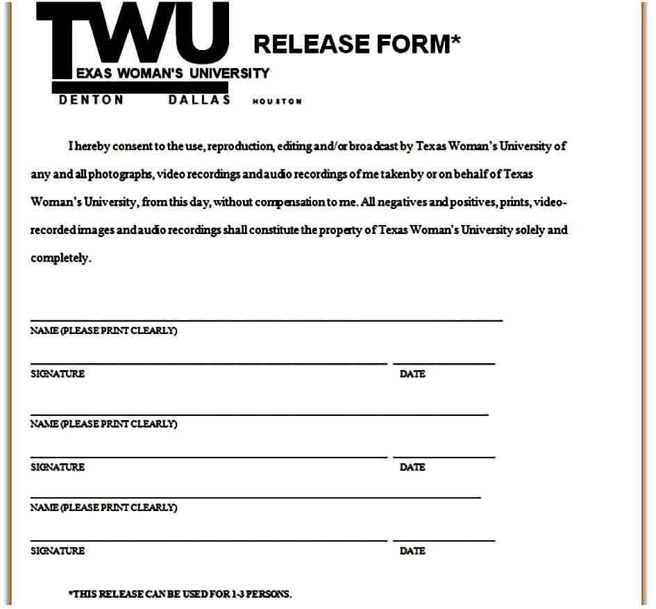 texas photo release form